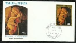 NOËL . BOTTICELLI . LA VIERGE A L'ENFANT . 12 DECEMBRE 1986 . MATA - UTU . - FDC