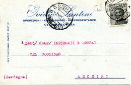 Carte Perforation D'archivage Cachet Civitavecchia 1928 Pour Oschiri Sardaigne - 1900-44 Victor Emmanuel III
