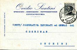 Carte Perforation D'archivage Cachet Civitavecchia 1929 Pour Oschiri Sardaigne - 1900-44 Victor Emmanuel III