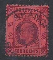 "HONK KONG..."" SHANGHAI..""...KING EDWARD VII.(1901-10.)..."" 1906..""...4c......SGZ836.....CDS ON DATE.....VFU... - Hong Kong (...-1997)"