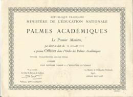 Diplôme- PALMES ACADEMIQUES - Ministère De L'Education Nationale - Diplomi E Pagelle