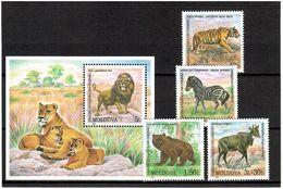 Moldova 2001 .Fauna (Zoo). 4v + S/S: 40b, 1L, 1.50L, 3L+30b,+5L . Michel # 397-400 + BL24 - Moldavia