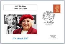 100th Birthday Vera Lynn Ww2 Wwii Music Birds Doves Postal Card 150 X 100mm - Other