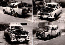 4 Photographies Originales Amateur RDA Pour Crash De 2 Trabants Différentes, Choc De Face & Côté Vers 1970/80 - Coches