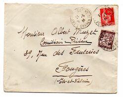 TAXE--1934-Lettre Taxée De Gare De Cognac-16 Pour Fougères-35-type Paix Sur Lettre + TT N° 37 - Marcophilie (Lettres)