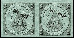 CV:€45.60 HONDURAS 1877 Coat Of Arms 1/2r Green OVPT.black IMPERF.PAIR - Volcans