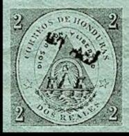 €22.80 HONDURAS 1877 Coat Of Arms 1/2r Green OVPT.black IMPERF. - Volcans