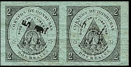 CV:€45.60 HONDURAS 1877 Coat Of Arms 1/2r Green OVPT.black MARG.IMPERF.PAIR - Volcans