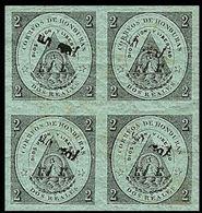 CV:€91.20 HONDURAS 1877 Coat Of Arms 1/2r Green OVPT.black IMPERF.4-BLOCK Volcano - Volcanos
