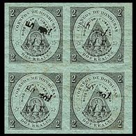 CV:€91.20 HONDURAS 1877 Coat Of Arms 1/2r Green OVPT.black MARG.IMPERF.4-BLOCK Volcano - Volcans