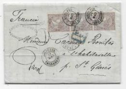 Lettre Espagne AMPOSTA 1869 P/ La France 3 Timbres Taxe 5 Tampon - 1868-70 Gobierno Provisional