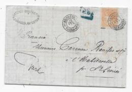 Lettre Espagne AMPOSTA 1869 P/ La France  Taxe 5 TAMPON ROUGE - 1868-70 Gobierno Provisional
