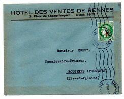 1941- Lettre De RENNES-35  Pour Fougères-35--type Cérès  Seul Sur Lettre--krag--Hôtel Des Ventes - 1921-1960: Modern Period