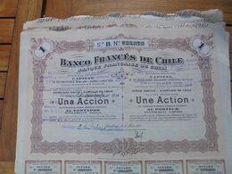 CHILI - SANTIAGO 1917 - LOT DE 10 TITRES - BANCO FRANCES DE CHILE - TITRE DE 1 ACTION DE 50 PESOS - Ohne Zuordnung