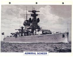 (25 X 19 Cm) C - Photo And Info Sheet On Warship - German Navy - Admiral Scheer - Bateaux