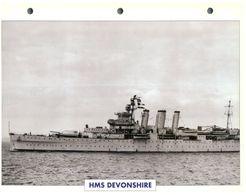 (25 X 19 Cm) C - Photo And Info Sheet On Warship - HMS Devonshire - Bateaux