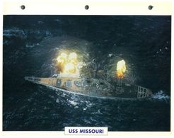 (25 X 19 Cm) C - Photo And Info Sheet On Warship - USS Missouri (gun Firing) - Bateaux