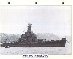 (25 X 19 Cm) C - Photo And Info Sheet On Warship - USS South Dakota - Bateaux
