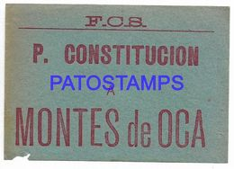 139303 ARGENTINA BUENOS AIRES P. CONSTITUCION A MONTES DE OCA TICKET TRAIN TREN NO POSTAL POSTCARD - Biglietti Di Trasporto
