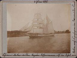 ! Altes Foto Auf Hartpappe, Photo, Segelschiff Bei Stettin, Kanal, Pommern, 1895, Format Ca. 9,3 X 12,2 Cm - Voiliers