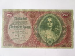 Rare! Austria 5000 Kronen 1922 Banknote - Austria