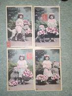 Serie 4 Cpa - Fillette Avec Son Chien Caniche - Souvenir De Tendresse    N 2890 - Colecciones, Lotes & Series
