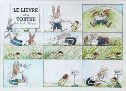 Illustration  Monique Touvay   Jean De  La Fontaine  Le Lievre Et La Tortue - Fairy Tales, Popular Stories & Legends