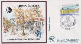 Enveloppe  FDC  Bloc  CNEP     CHAMPS  ELYSEES     Salon  Philatélique  D' Automne     PARIS   1994 - CNEP