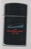 ZIPPO - U.S.S. SPARTANBURG COUNTY LST-1192 - Slim - Chromé, Année 1988 (jamais Servi)  SB - 03 - Zippo