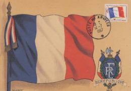 Carte  Maximum   FRANCE   FRANCHISE  MILITAIRE   DRAPEAU    Poste  Aux  Armées  1967 - 1960-69