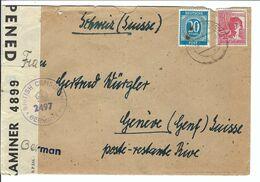 ALLEMAGNE 1948: LSC Pour Genève, Affr. Bicolore De 50 Pf., Passée Par La Censure Britannique - Zona Anglo-Americana