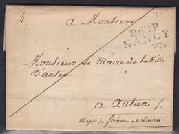 France, Meurthe Et Moselle - P52P/Nancy En Bleu Du Maire De Nancy Sur LAC Du 5/11/1823 - Indice 12 - Marcofilia (sobres)