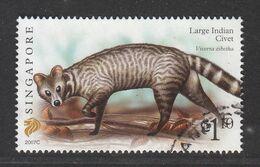 "Singapore, 2007 Definitive Stamp Series, $1.10 Large Indian Civet ""2007C"", Fine Used - Singapur (1959-...)"