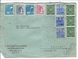 ALLEMAGNE 1948: LSC De München Pour Davos (Suisse), Affr. 5-couleurs De 5 Mk. - American/British Zone