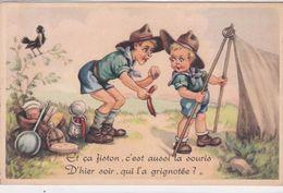 """Illustr.  SCOUTISME .  Camp De Scouts """" Et ça Fiston, C'est Aussi La Souris D'hier Soir Qui L'a Grignotée? """" - Scoutisme"""