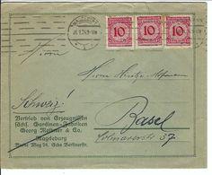 ALLEMAGNE 1924: LSC De Magdeburg Pour Bâle (Suisse), Affr.  De 30 Pf. - American/British Zone