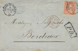 1866- Enveloppe Affr. N°33 Seul Pour Bordeaux Oblit. De La CHAUX-DE-FONDS - 1862-1881 Helvetia Assise (dentelés)