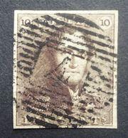 BELGIE  1849     Nr. 1    Centraal  Gestempeld  / Mooi Gerand      CW 90,00 - 1849 Epauletten