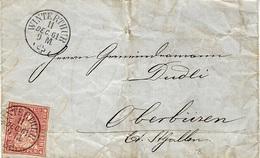 1961- Lettre De WINTERTHUR  Affr. N°24 G    Pour Oberbüren - 1862-1881 Helvetia Assise (dentelés)
