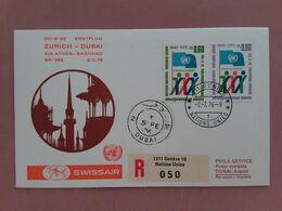 SVIZZERA 1976 - 1° Volo Ginevra-Dubai Con Annullo Arrivo - Raccomandata + Spese Postali - First Flight Covers