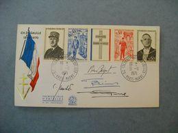 Autographe PIERRE BEQUET Sur Enveloppe 1er Jour  -  Général De Gaulle  -  + 3 Autres Signatures ( Collaborateurs ? - ) - Autographs