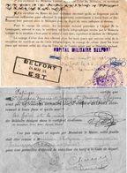 """Document -     Cachets- """" Hôpital Militaire BELFORT """" - Storia Postale"""