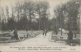 L'Isle-Adam  / Mériel  STORS   -   Le Pont A Bateaux Pendant La Guerre 14/18  - Carte Animée. - L'Isle Adam