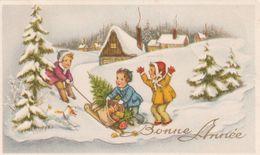 964 - MIGNONETTE MIGNONNETTE BONNE ANNEE.ENFANTS JOUANT CHIEN LUGE CADEAUX SAPINS MAISONS  PAYSAGE ENNEIGE. JC - Neujahr