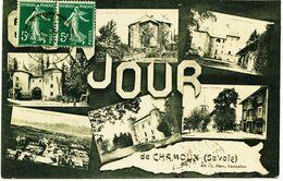 3815 - Savoie - CHAMOUX Sur GELON :  VUE  MULTIPLE   Circulée En 1914   RARE - Chamoux Sur Gelon