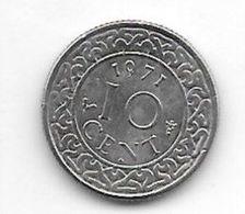 *suriname 10  Cents 1971  Km 13   Xf+/ms60 - Surinam 1975 - ...
