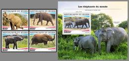 NIGER 2020 MNH Elephants Elefanten 4v+S/S - IMPERFORATED - DHQ2028 - Elefantes