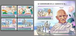 NIGER 2020 MNH Mahatma Gandhi Salt March Salzmarsch Marche Du Sel 4v+S/S - IMPERFORATED - DHQ2028 - Mahatma Gandhi