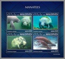 MALDIVES 2020 MNH Manatees Seekühe M/S - OFFICIAL ISSUE - DHQ2030 - Mammifères Marins
