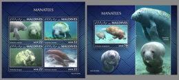 MALDIVES 2020 MNH Manatees Seekühe M/S+S/S - OFFICIAL ISSUE - DHQ2030 - Mammifères Marins